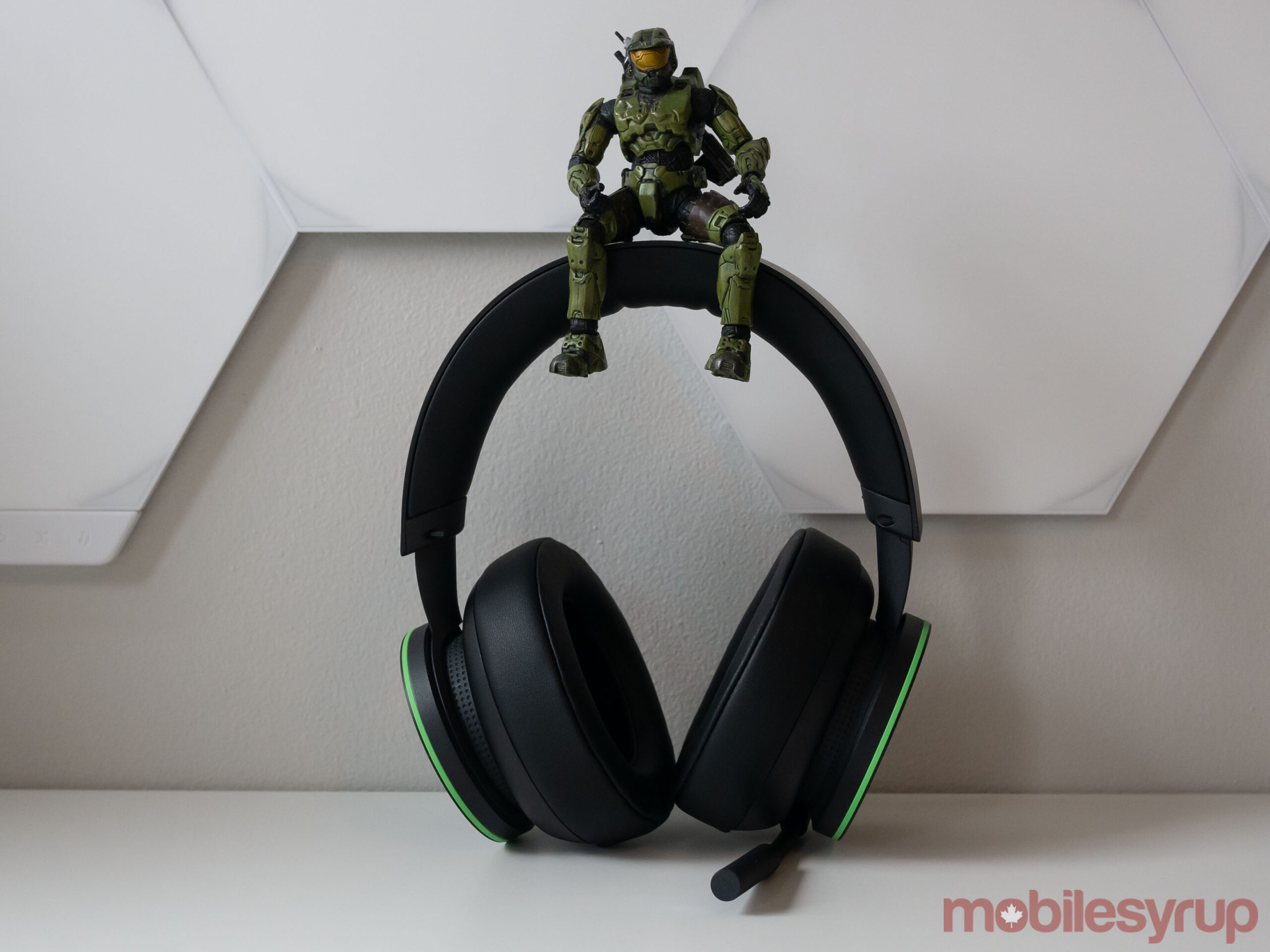 Xbox Wireless Headset with the Master Chief sitting on it